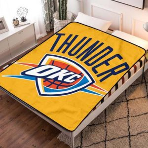 Oklahoma City Thunder Basketball Quilt Blanket Fleece Throw