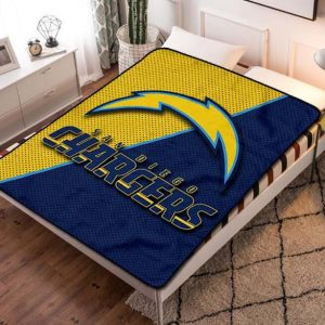 Los Angeles Chargers Football Fleece Blanket Throw Quilt