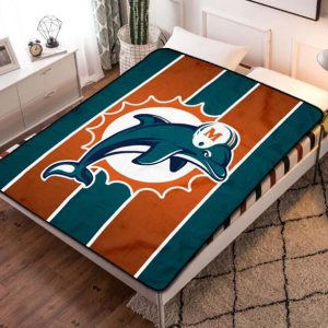 Miami Dolphins Football Fleece Blanket Quilt