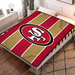 San Francisco 49ers Team Football Fleece Blanket Throw Quilt