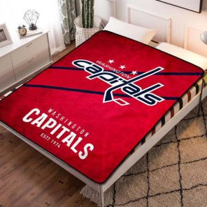 Washington Capitals Ice Hockey Quilt Blanket Fleece Throw