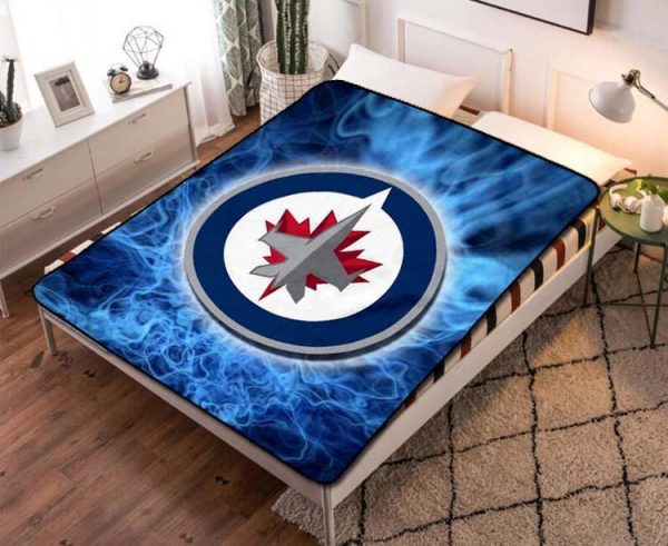 Winnipeg Jets Team Hockey Fleece Blanket Quilt