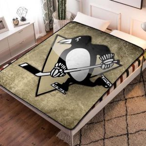 Pittsburgh Penguins NHL Hockey Team Fleece Blanket Throw Bed Set