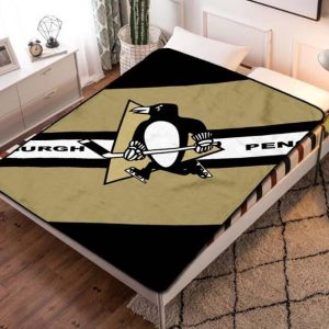 Pittsburgh Penguins Hockey Fleece Blanket Quilt