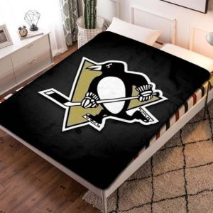 Pittsburgh Penguins NHL Hockey Team Fleece Blanket Quilt