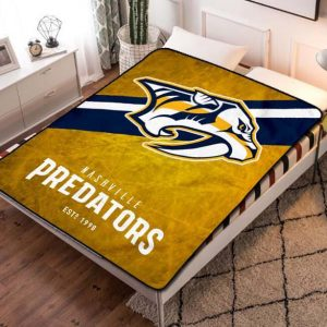 Nashville Predators Hockey Team Fleece Blanket Throw Bed Set