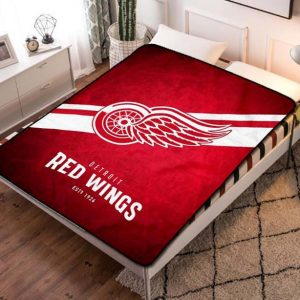 Detroit Red Wings Hockey Team Fleece Blanket Throw Quilt