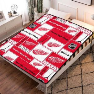 Detroit Red Wings Team Hockey Fleece Blanket Quilt