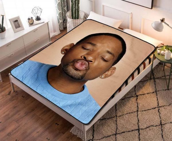 Will Smith Kissing Mouth Quilt Blanket Fleece Throw